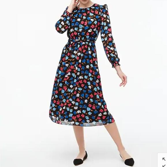 Nwt J.crew crinkle ruffled tiered midi dress